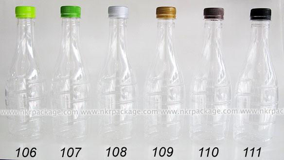 ขวดพลาสติก โบว์ลิ่ง 500 ml. ใส + ฝาพลาสติก หมายเลข 106-111