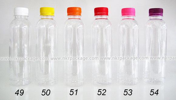 ขวดพลาสติก กลมเรียบ 300 ml. ใส + ฝาพลาสติก หมายเลข 49-54