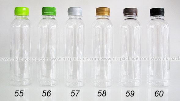 ขวดพลาสติก กลมเรียบ 300 ml. ใส + ฝาพลาสติก หมายเลข 55-60