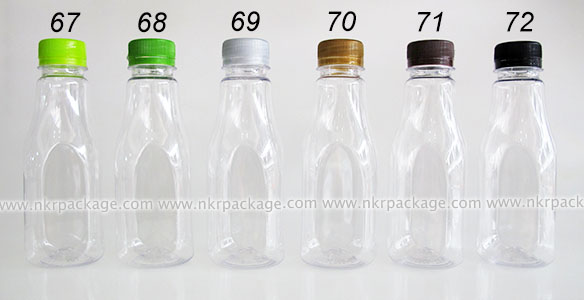 ขวดพลาสติก ทรงเหลี่ยม 250 ml. ใส + ฝาพลาสติก หมายเลข 67-72
