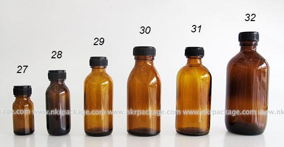 ขวดแก้วสีชา แบบ 27-32