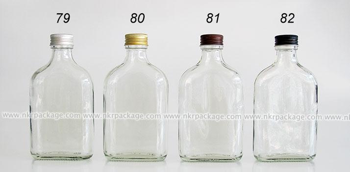 ขวดแก้วแบน (แบนกั๊ก) ใส่ชา/กาแฟ/น้ำผลไม้ หมายเลข 79-82