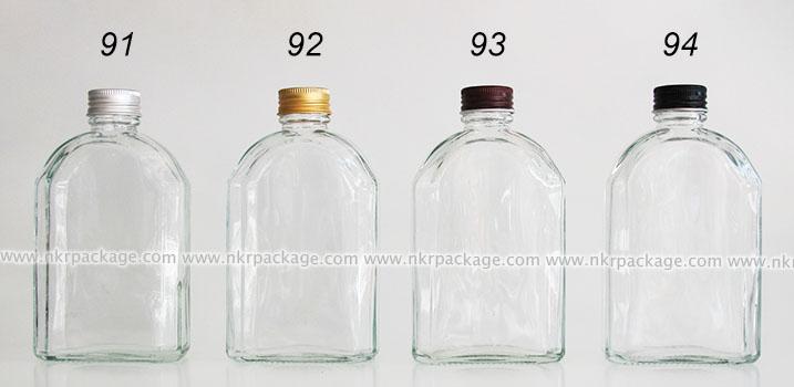 ขวดแก้วแบนเหลี่ยมตัดโค้ง 250 ml. หมายเลข 86-90