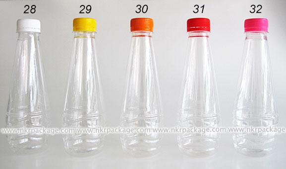 ขวดพลาสติก ทรงหยดน้ำ 330 ml. ใส + ฝาพลาสติก หมายเลข 28-32