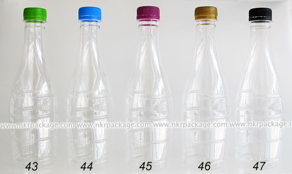 ขวดพลาสติก ทรงโบว์ลิ่ง 500 ml. ใส + ฝาพลาสติก หมายเลข 43-47