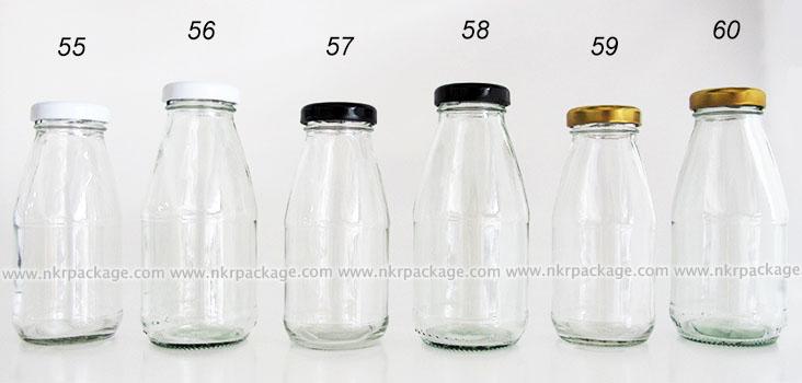 ขวดแก้วใส่นม ขวดแก้วน้ำผลไม้ หมายเลข 55-60