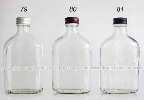 ขวดแก้วแบน (แบนกั๊ก) ใส่ชา/กาแฟ/น้ำผลไม้ แบบ 78-81