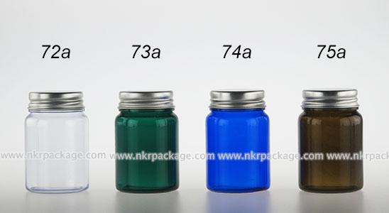 ขวด PVC ไหล่โค้ง 150 ml. + ฝาอลูมิเนียมสีเงิน หมายเลข 72a-75a