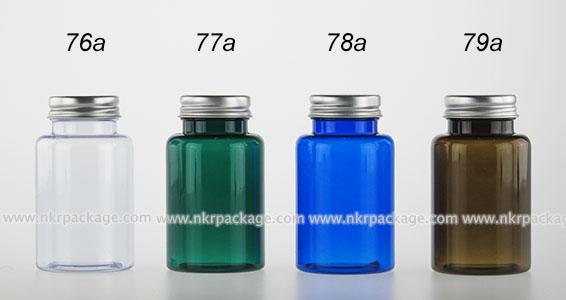 ขวด PVC ไหล่โค้ง 150 ml. + ฝาอลูมิเนียมสีเงิน หมายเลข 76a-79a